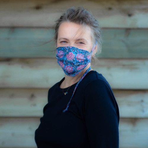 Blue Floral Cloth Mask 2